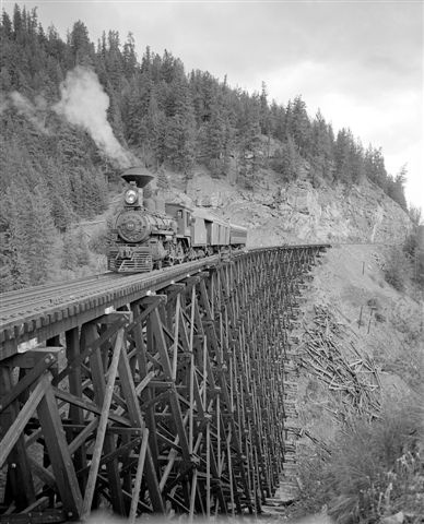Myra Canyon Trestle Bridge near Kelowna, BC. Constructed by Kettle Valley Railway.