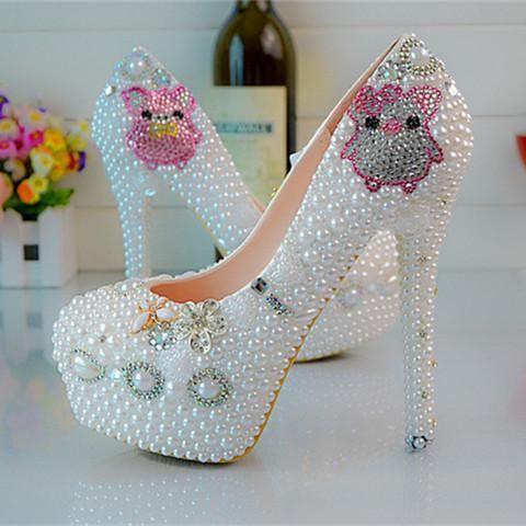 Coppia Piggy Scarpe Da Sposa Bianco Scarpe Da Sposa, Abito Da Sposa, Scarpe Di Strass Tacchi Alti Discoteca Pantofola