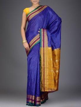 Blue-Mustard Narayanpet Silk Saree with Zari Border