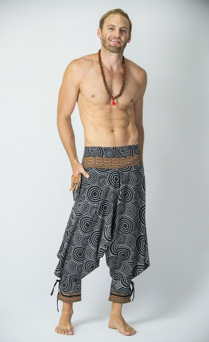 Swirls Prints Thai Hill Tribe Fabric Men Harem Pants with Ankle Straps in Black