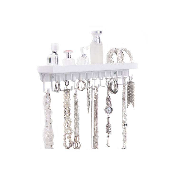 Wall Mount Necklace Holder Organizer Display - Schelon Necklace Rack by Angelynn's Jewelry Organizers in White
