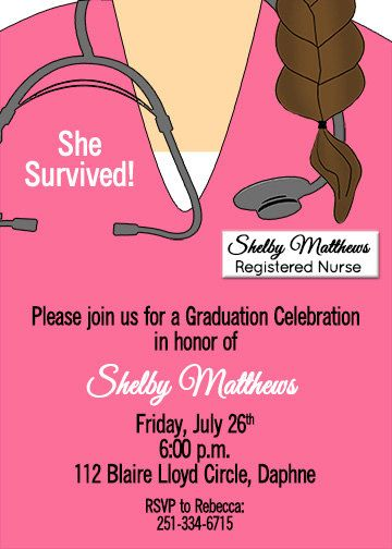 Nursing School Doctor Graduation Medical Invitation $15.00