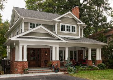 We love the use of double columns, the use of crown molding under the eaves and the dentil block shelf supporting the gable louver vent in the the peak above the three windows. A little trim goes along ways! http://www.Wholesalemillwork.com