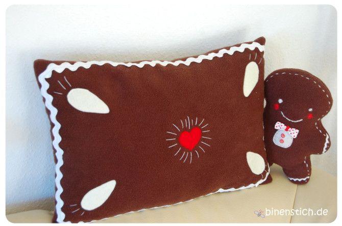 Nähen für Weihnachten: Lebkuchenkissen - gratis Anleitung - und Lebkuchen-Baby | binenstich.de