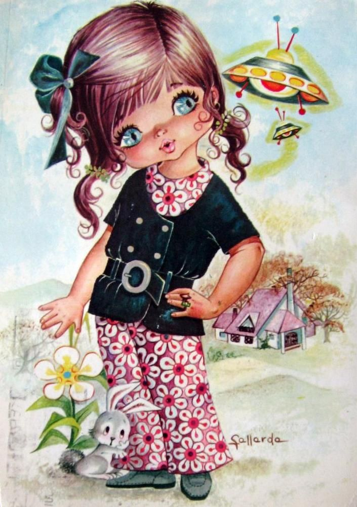 Классификация, открытка с изображением девочек