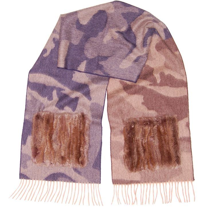 cashmere camougflage scarf with mink poquets