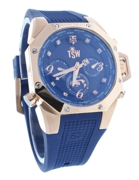 FREE US SHIPPING. Technosport TS-100-LP3 Women's Lady Pilot Navy Blue Watch World Timer GMT With Swarovski Crystals. Manufacturer Warranty Included.