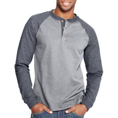 Hanes Men's Beefy Long Sleeve Raglan Colorblock T-shirt, Gray