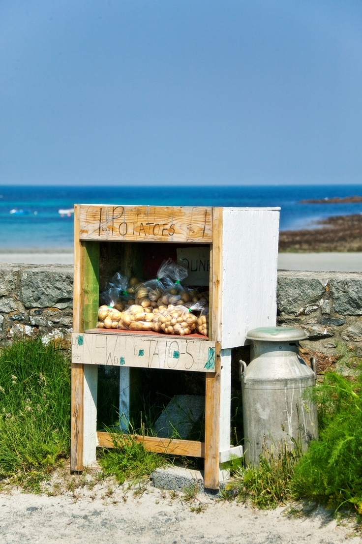 Hedge veg is a well-loved Guernsey tradition where you can buy locally grown produce on the roadside, or in this case, the beachside!