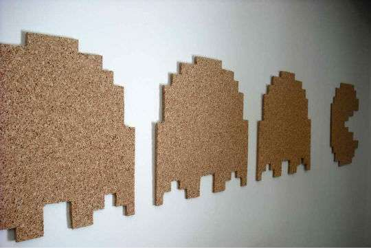 I love this idea of cutting cork into fun shapes.  Pacman is awesome - Miss Pacman would be better :)