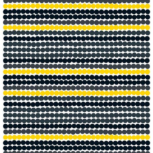 Marimekon Räsymatto-kangasta somistaa Maija Louekarin ilahduttava kuosi, joka koostuu mustista, keltaisista ja harmaista kuteista. Kangas on valmistettu paksusta puuvillasta ja sen raportti on 62 cm.