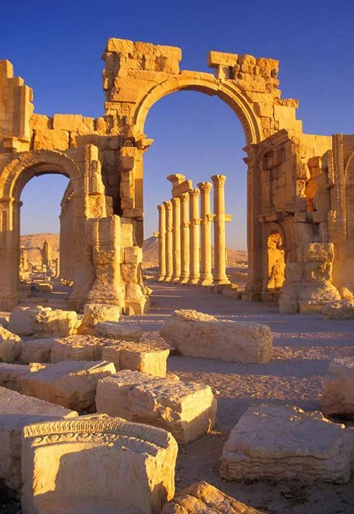 Monumental Arch, Palmyra, Syria. This place is currently inaccessible due to civil war happening in Syria.