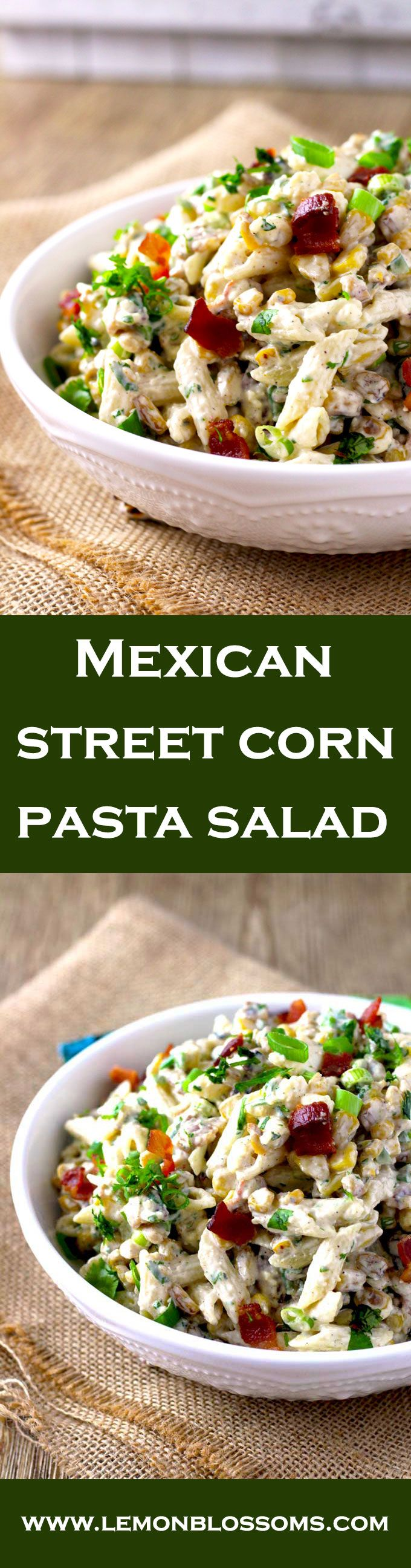 Perfectly charred corn is the star of this Mexican Street Corn Pasta Salad. Tossed in a creamy chili-lime cilantro dressing with Cotija cheese and crumbled bacon. Easy to make, super flavorful and  the ideal dish to make for your next gathering. via @https://www.pinterest.com/lmnblossoms/