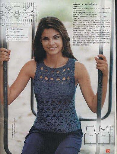 Crochetemoda: Crochet - Top Azul Marinho