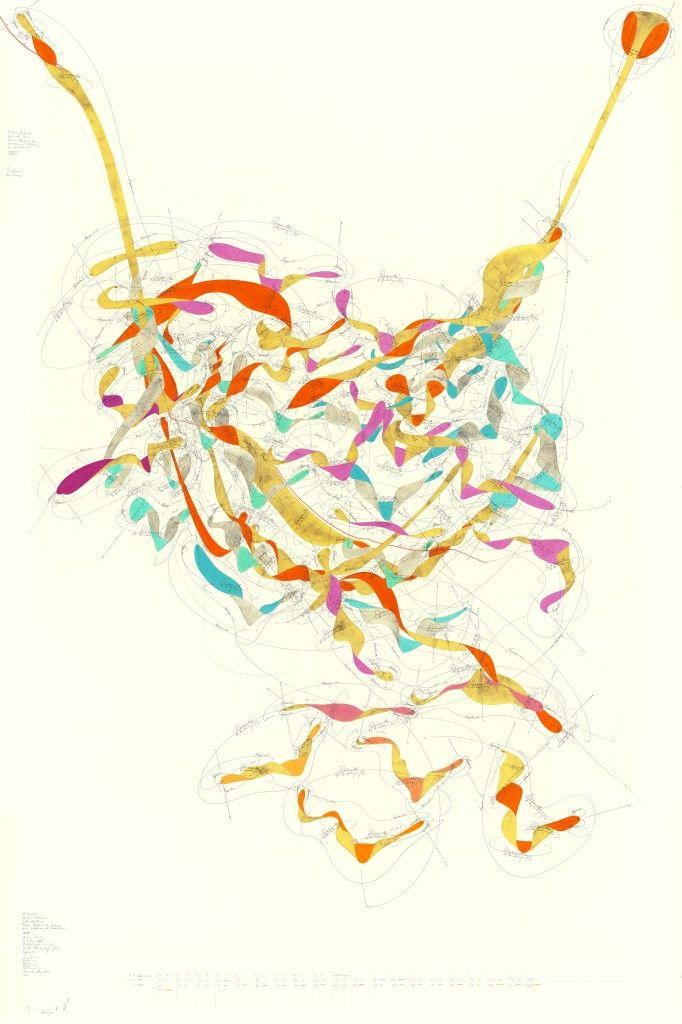 Jorindevoigt WV 2013-169 Quintessenz (Niklas Luhmann / Liebe als Passion / Passion: Rhetorik des Exzesses und Erfahrung der Instabilität (XXIII));  Matrix 1-107; Rotationsrichtung; Rotationsgeschwindigkeit 1-103 Umdrehungen/ Tag; Egomotion; Vorgestern → ∞; Gestern → ∞; Heute → ∞; Morgen → ∞; Übermorgen → ∞; Himmelsrichtung N-S; Now; Jorinde Voigt; Berlin 2013; 210 x 140 cm; Tinte, Blattgold, Bleistift, Ölkreide auf Papier; Unikat; Signiert