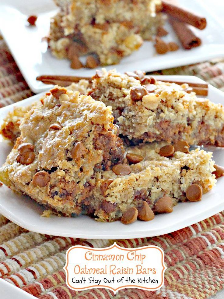 Cinnamon Chip Oatmeal Raisin bars are oatmeal cookies with cinnamon chips & made like brownies. Sprinkled with powdered sugar on top. Fabulous cookie.