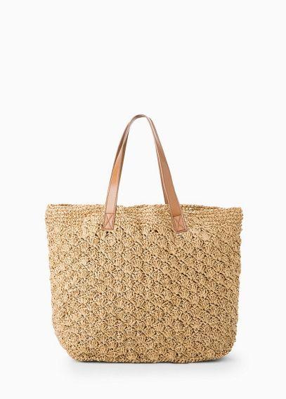 Raffia shopper bag | MANGO
