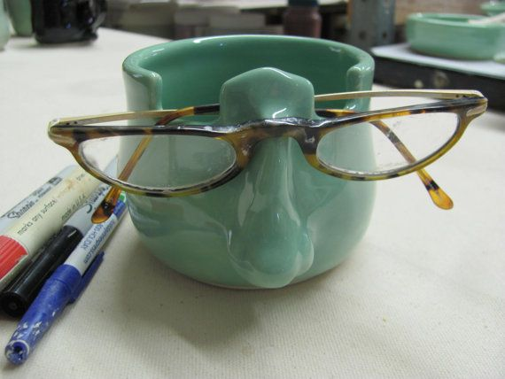 Pencil Holder, Eyeglass Holder, Ceramic Pottery Pencil cup,Handmade Stoneware Mint  Eye Glass Holder