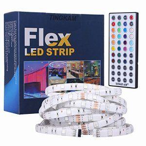 [2ème Génération] Tingkam® 16,4 ft 5 Mètres 150 Leds rgb ruban bande strip led flexible +44 touches Télécommande + 12V 2,5A EU Alimentation