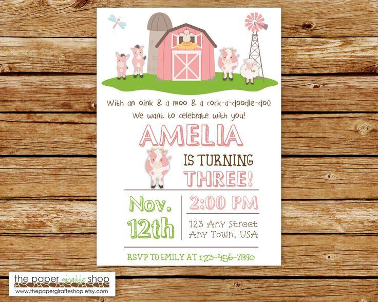 Farm Birthday Invitation | Pink Farm Birthday Party | Farm Party | Birthday Invitation for Girls | Farm Birthday Invites | Barn Invitation by ThePaperGiraffeShop on Etsy