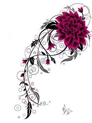 Flower Tattoo Design By Inkymel - Sketch Club   See more about flower tattoo designs, flower tattoos and tattoo designs.