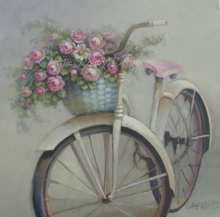 """I spent the day revising my """"Dreaming of Summer"""" bike painting to go with my new """"Laundry Day"""" painting, both will be available on my websi..."""