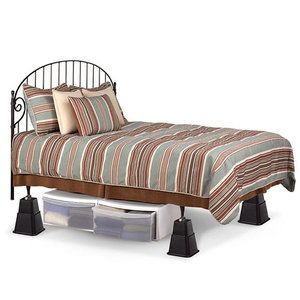 Adjustable Bed Risers from Walmart for only $10.47 create a second season storage area for clothes!