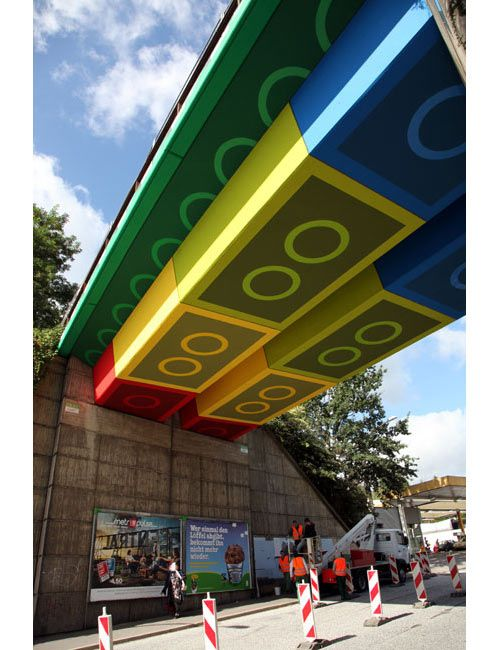 A plain old overpass was designed to look like giant LEGO bricks by MEGX, a street artist whose graffiti is really quite beautiful. The 250-square-meter bridge in Germany went from bland concrete into one of the coolest things we've ever seen. Think it's photoshopped? It's not…: Street Artists, Artist Megx, Stuff, Legobridge, Germany, Bridges, Streetart