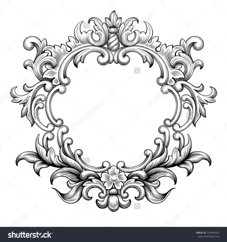 Vintage baroque frame border leaf scroll floral ornament ... Барокко Орнамент