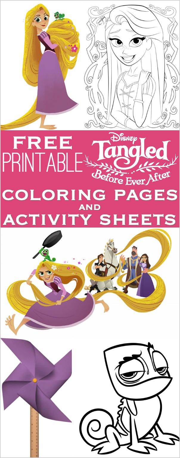 Tangled Before Ever After Coloring Pages and Activity Sheets for Rapunzel, Flynn Rider / Eugene, Pascal, Cassandra and Maximus, plus others!