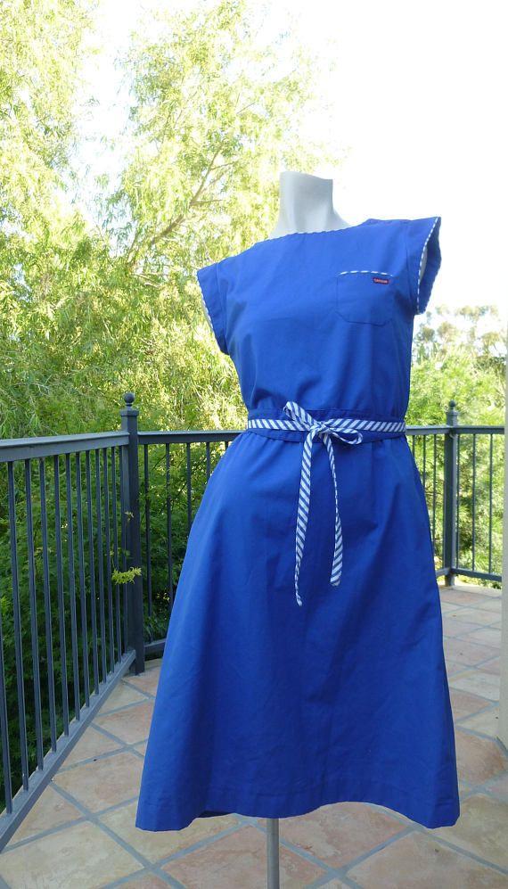 Vintage 1980s Dress Blue Sundress Nautical Striped Belted