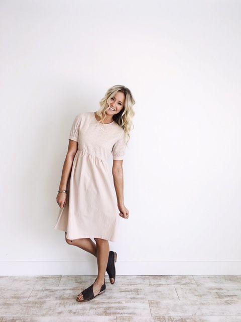 Pastel Pink Linen Dress  Eyelet Lace Detail  Gathered Waistline  Cuffed Short Sleeve  Linen Buttons on Back  Length Chart