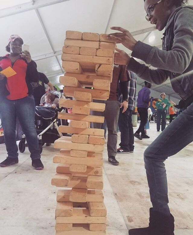 Giant Jenga! One of the many perks that come with having Floyd at your event #events #promotions #marketing #fun #mascot