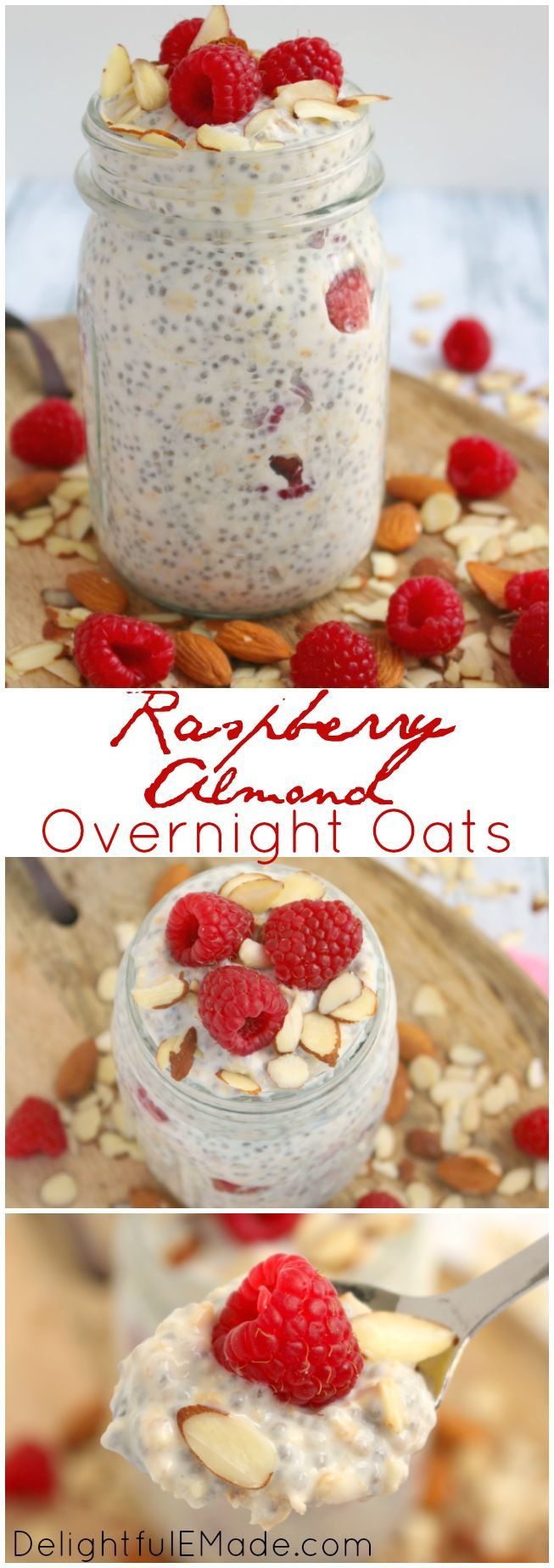Sweet raspberries, crunchy almonds, chia seeds and oats makes for the most amazing breakfast!  Nutritious, delicious, and filling, its the perfect start to your day!