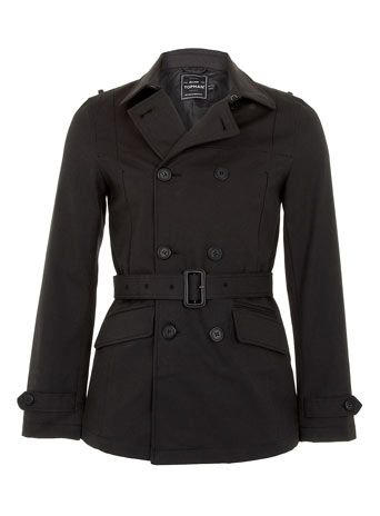 Charcoal Cropped Belted Trench Coat - Macs and Trench Coats - Men's Jackets & Coats  - Topman
