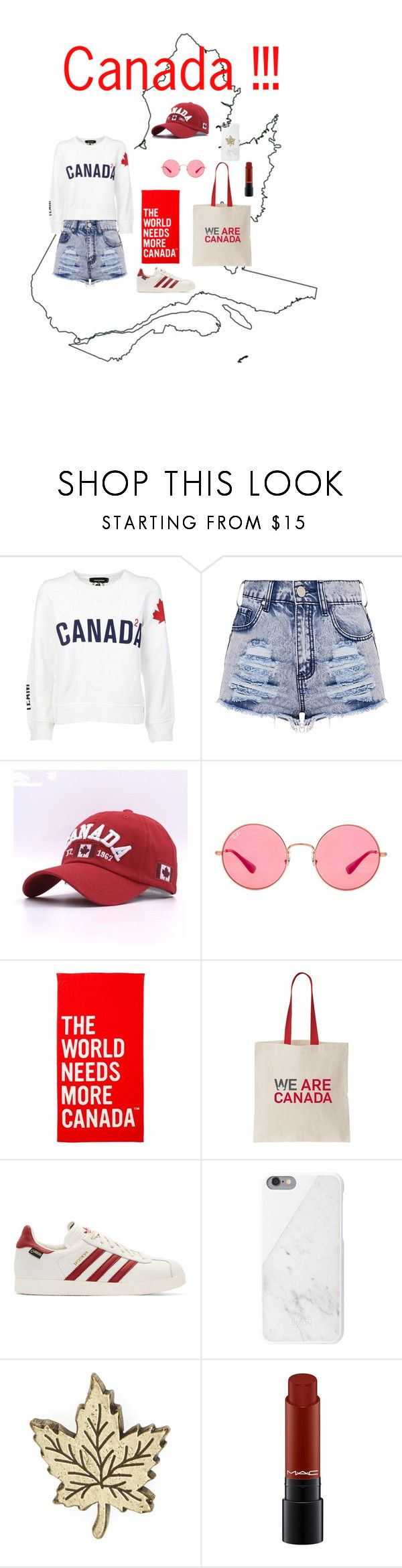 """""""Canada day outfit"""" by naomi2003a ❤ liked on Polyvore featuring Dsquared2, Ray-Ban, adidas Originals, Native Union, Goorin and MAC Cosmetics"""
