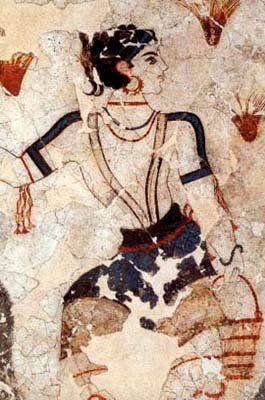 Greek Woman ~ Ancient Wall frescos of Thira , Santorini Island, Greece