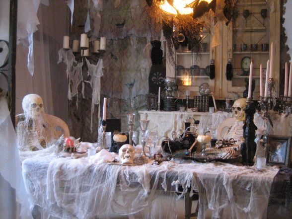 A Very Spooky Dinner Party! 2011, My dining room and a few uninvited guests!, A Spooky Dining Room theme this year! I dressed the room from floor to ceiling with over 100 yards of cheese cloth! The table and all the accessories I've been collecting for the last ten years!, Indoor and Outdoor Decorations