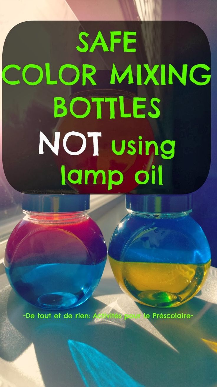discovery bottles, color mixing, babies, toddlers, lamp oil,