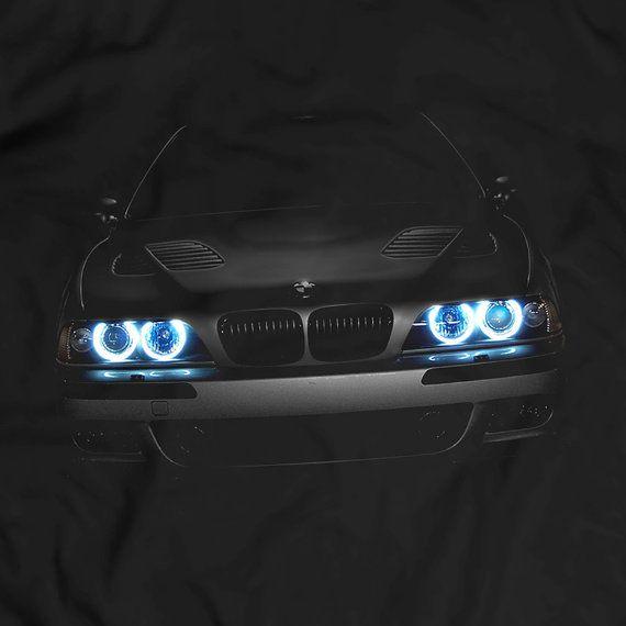 BMW E39 T-Shirt Blue Headlights Glow Black T Shirt Garment Apparel