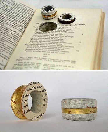 """Destroying books is sacrilege! But creating rings is... whatever the opposite of sacrilege is! I'm torn... like the pages of this book! While my mind runs in an infinite loop, please enjoy the work of British artist Betty Pepper, who creates jewellery using aged and faded textiles that she feels are """"constantly in a state of deterioration."""""""