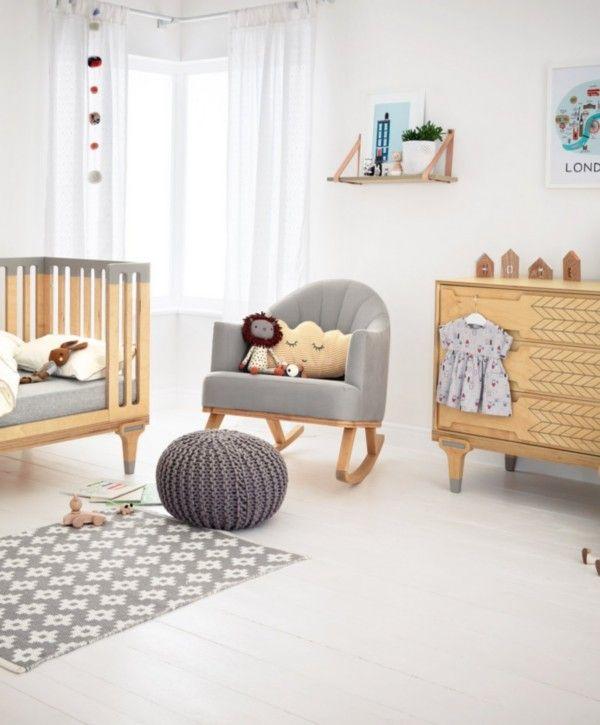 Bunny & Clyde Rocking Chair for Nursing & Feeding - Birch Wood & Grey