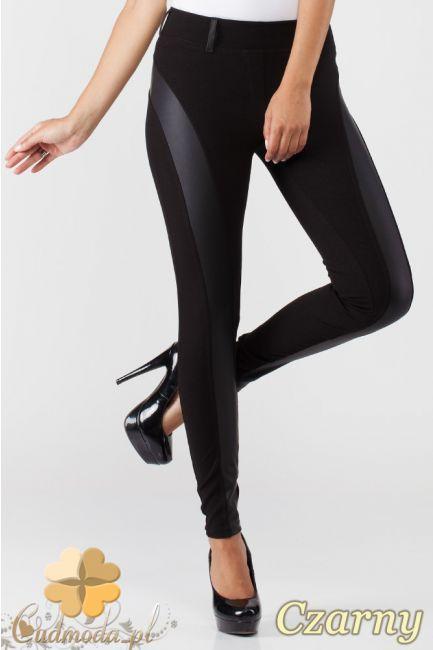 Elastyczne spodnie rurki - leginsy z miękkiej przędzy. Na pasku szlufki z ekologicznej skóry. Spodnie marki Paulo Connerti.  #cudmoda #moda #ubrania #odzież #clothes #pants #hosen #spodnie #leginsy #legginsy