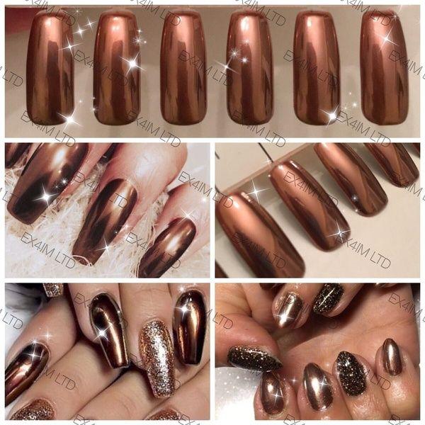 Copper Nails Powder Bronze Mirror Chrome Effect Pigment Nail Art Wish In 2020 Copper Nails Powder Nails Bronze Nails Art
