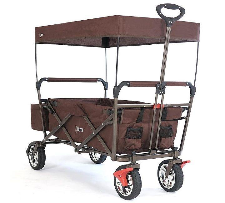 Skládací vozík CT-500-BR s ochrannou stříškou, zadní kapsou a přídavnou taškou pro přenášení. Unese náklad až do hmotnosti 70 kg.  Složíte na hloubku 15 cm. Chromované ráfky. Teleskopická vodicí tyč.
