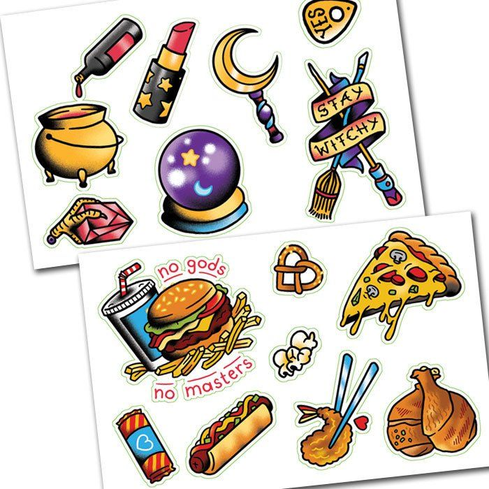 Witches n food sticker set