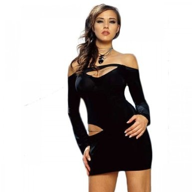 Sexy Club Wear - Long Sleeve Cut Out Mini Dress With Chain $27.99