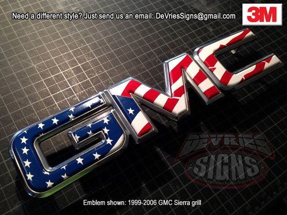 DOMED  GMC emblem overlays 3M™ Sierra Denali grill by DeVriesSigns