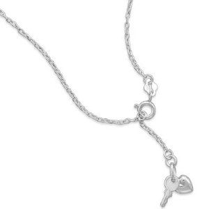 "9""+1""Extension Chain Anklet with Heart and Key Charm BlingLtd. $22.68. .925 Sterling Silver. Anklet has spring ring closure. 9"" + 1"" extension sterling silver link chain anklet with 11mm key and 6mm x 5.5mm heart charms"