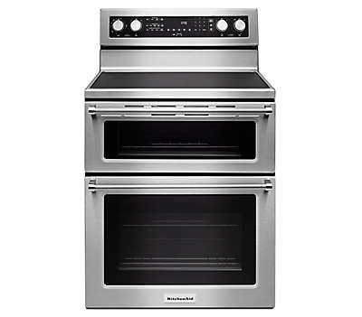 $2049 Learn about features and specifications for the 30-Inch 5 Burner Electric Double Oven Convection Range (KFED500ESS)